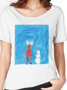 Reindeer & Snowman Women's Relaxed Fit T-Shirt