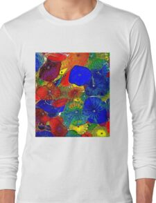 ABSTRACT FLOWERS; Colorful Whimsical Print Long Sleeve T-Shirt