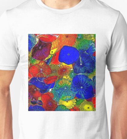 ABSTRACT FLOWERS; Colorful Whimsical Print Unisex T-Shirt