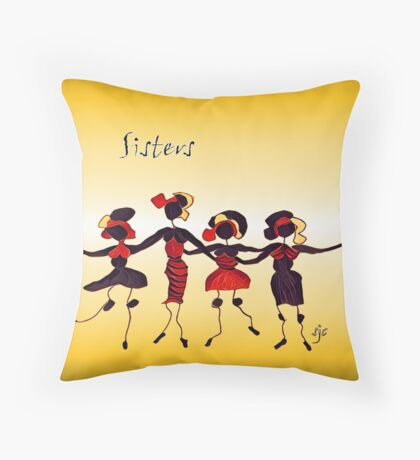 Four Sisters in Black Throw Pillow