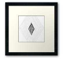 Zen Doodle Diamond Black Ink Framed Print