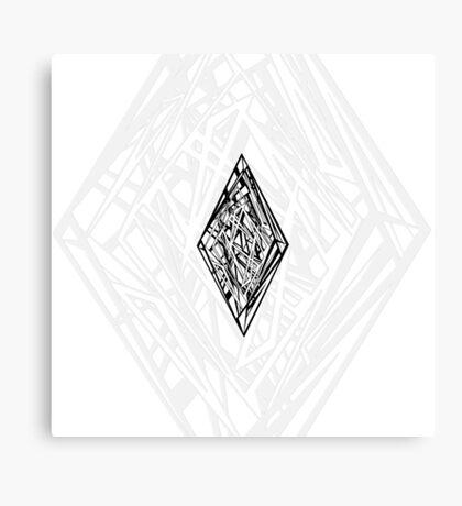 Zen Doodle Diamond Black Ink Canvas Print