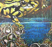 Australian  Corroboree Frog from a Pastel Painting  by Heatherian