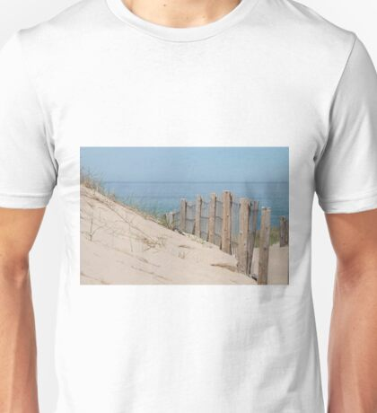 Sand dunes and weathered fence at the beach Unisex T-Shirt