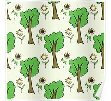 cute forest pattern with flowers and tree Poster