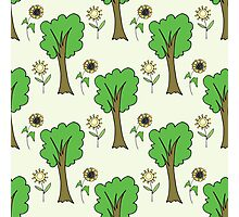 cute forest pattern with flowers and tree Photographic Print
