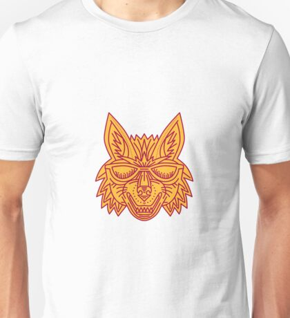 Coyote Head Sunglasses Smiling Mono Line Unisex T-Shirt