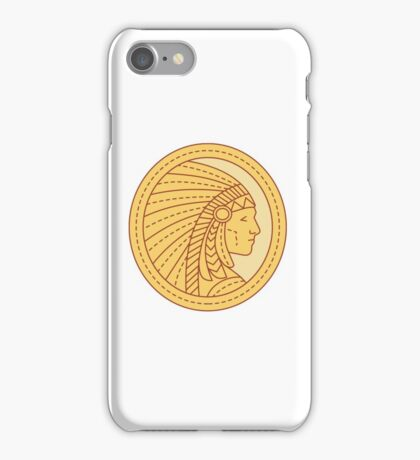 Native American Indian Chief Warrior Mono Line iPhone Case/Skin