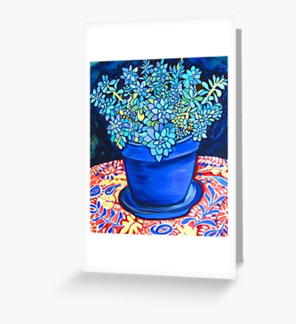 Blue Succulent Greeting Card