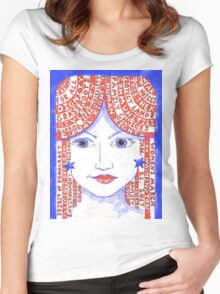 Women's March on Washington Red, White and Blue Women's Fitted Scoop T-Shirt