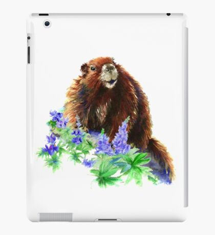 Marmot, Groundhog, Woodchuck,Watercolor Animal iPad Case/Skin