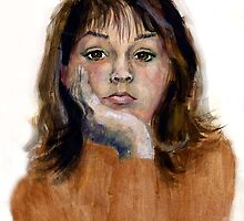 Roz -  self-portrait in gouache, at age16! by Roz McQuillan