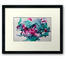 Bright coral reef ink pink green Framed Print