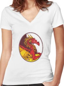 Ancient Red Dragon Women's Fitted V-Neck T-Shirt