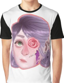 Purple Flower Guro Head Graphic T-Shirt