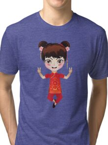 Happy chinese girl Tri-blend T-Shirt