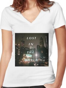 Yeezy Series by Ryan Najjar-Lost In The World Women's Fitted V-Neck T-Shirt