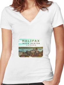 Halifax Nova Scotia Canada Vintage Travel Decal Women's Fitted V-Neck T-Shirt