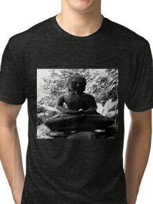 BUDDHA KNOWS NOTHING IN LIFE IS BLACK AND WHITE Tri-blend T-Shirt