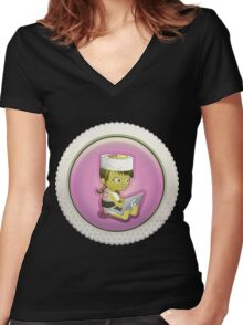 Glitch Achievement super awesome intern hburger Women's Fitted V-Neck T-Shirt
