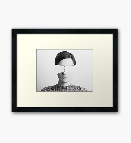 Black and White Abstract Woman Portrait Of Time Passing Concept Framed Print