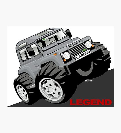 Land Rover Defender 90 caricature Photographic Print