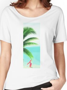 Tropical Palm Leaves and Pink Flamingo Women's Relaxed Fit T-Shirt
