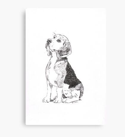 Pen and Ink Beagle Canvas Print