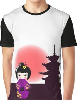 Japanese kokeshi doll at temple during sunset Graphic T-Shirt