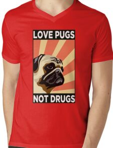 Love Pugs Not Drugs Mens V-Neck T-Shirt