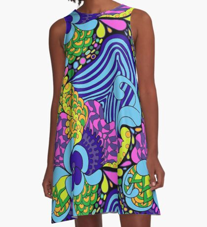 60s hippie abstract print A-Line Dress