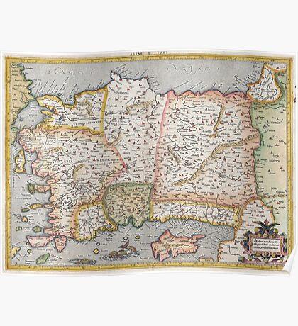 Turkey Map - Mercator - 1584 Poster