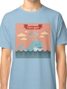 Happy Valentine's Day Greeting Cards. Air Baloon, Present with Love, Cupcake and Whale Classic T-Shirt