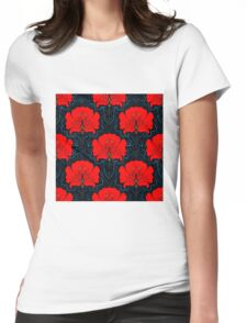 RED FLOWER; Abstract Bright Print Womens Fitted T-Shirt