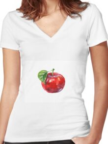 Watercolor summer insulated red apple on white background Women's Fitted V-Neck T-Shirt