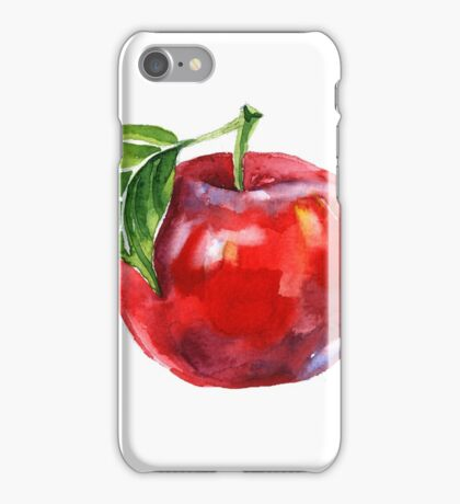 Watercolor summer insulated red apple on white background iPhone Case/Skin