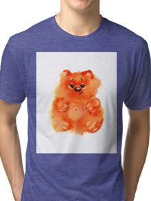 Watercolor sweet orange bears on white background Tri-blend T-Shirt