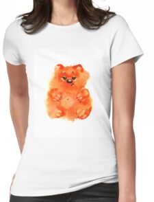 Watercolor sweet orange bears on white background Womens Fitted T-Shirt