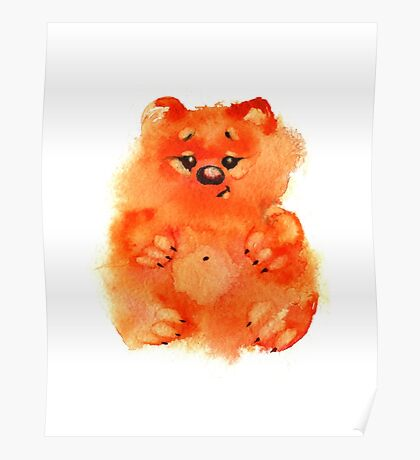 Watercolor sweet orange bears on white background Poster
