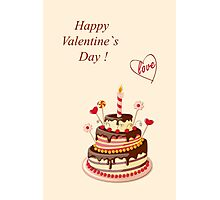 Valentine Day with cake Photographic Print