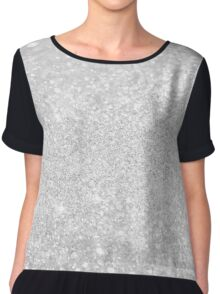 Silver Luxury Glitter Chiffon Top