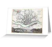 Map of Oporto - Porto - 1833 Greeting Card