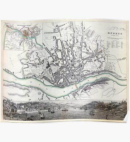 Map of Oporto - Porto - 1833 Poster