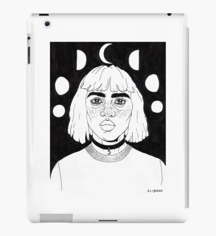 Moon Girl - Black iPad Case/Skin
