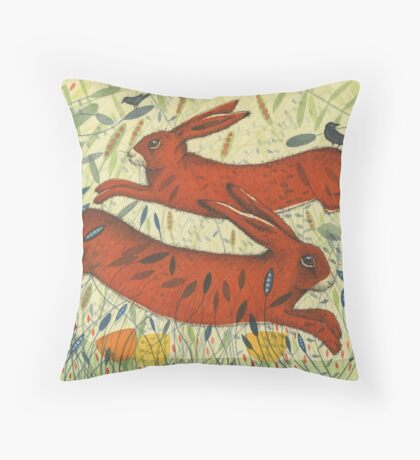 The Hares and the Crows Throw Pillow