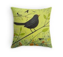 Spring Blackbird Throw Pillow