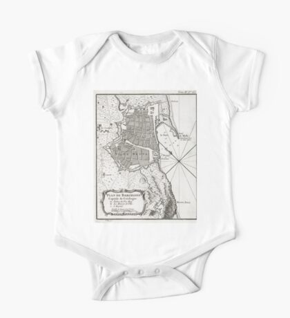 Plan of Barcelona - 1764 One Piece - Short Sleeve