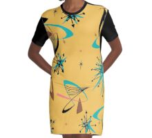 Retro Mid Century Modern Graphic T-Shirt Dress