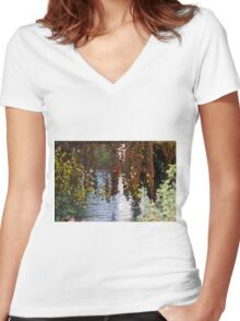 water reflection on river Women's Fitted V-Neck T-Shirt