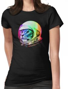 Astronaut Space Cat (digital rainbow version) Womens Fitted T-Shirt